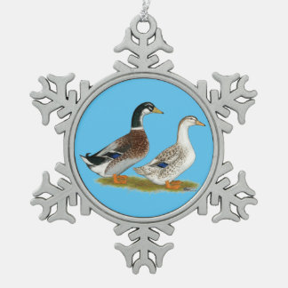 Ducks:  Silver Appleyard Snowflake Pewter Christmas Ornament