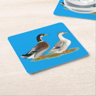 Ducks:  Silver Appleyard Square Paper Coaster