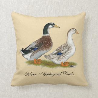 Ducks:  Silver Appleyard Throw Pillow