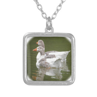 ducks silver plated necklace