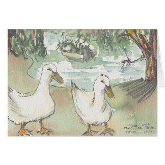 """Ducks Watercolor Sketch/Paris"" Greeting Card"