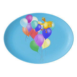 Ducky Balloon Flying by The Happy Juul Company Porcelain Serving Platter