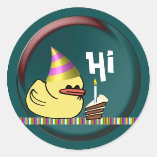 Ducky Birthday Classic Round Sticker