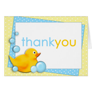 Ducky Bubbles - Blue Thank You Note Card