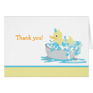 Ducky Duck in Tub Folded Thank you note Card