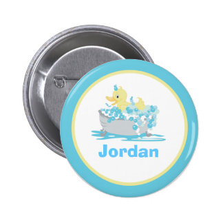 Ducky Duck in Tub Personalized Button Template