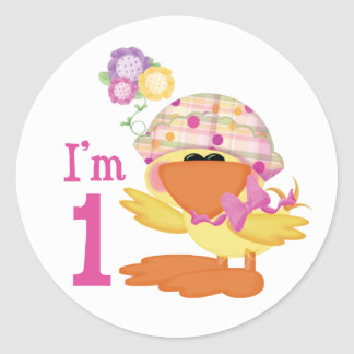 Ducky Girl 1st Birthday Classic Round Sticker