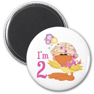 Ducky Girl 2nd Birthday 2 Inch Round Magnet