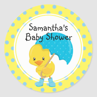 Ducky with Umbrella Baby Shower Round Sticker
