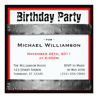 Duct Tape Square Men's Red Birthday Invitations