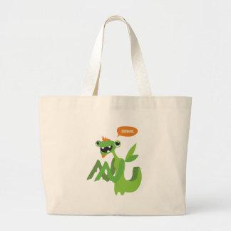 dude, cute cool animal cartoon design large tote bag