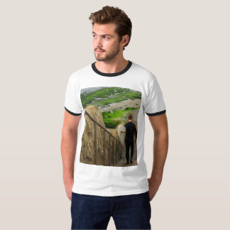 Dude going surfing: Surfing shirt: Man vs. Beach T-Shirt