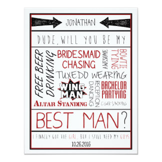 "Dude, Will you be my Best Man? Red/Black Collage 4.25"" X 5.5"" Invitation Card"