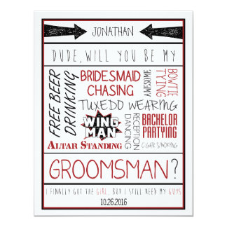 "Dude, Will you be my Groomsman? Red/Black Collage 4.25"" X 5.5"" Invitation Card"