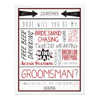 Dude Will you be my Groomsman Red Black Collage Custom Invites