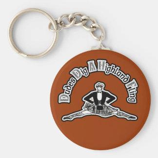 Dudes Dig A Highland Fling Basic Round Button Keychain
