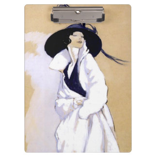 "Dudovich Art Deco Illustration ""Woman In A White C Clipboards"
