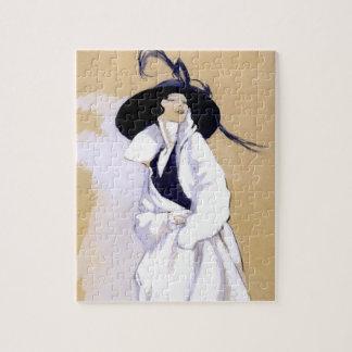 "Dudovich Art Deco Illustration ""Woman In A White C Puzzle"