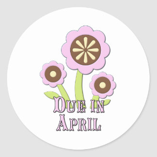 Due in April Expectant Mother Classic Round Sticker