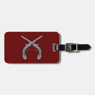 Dueling Antique Guns Maroon Luggage Tag