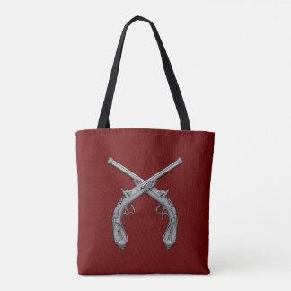 Dueling Antique Guns Maroon Tote Bag