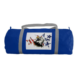 Duffle Gym Bag, Regatta Blue with Silver straps