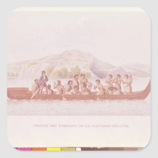 Dugout canoe piloted by natives of New Zealand Square Sticker