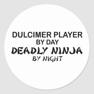 Dulcimer Deadly Ninja by Night Round Sticker