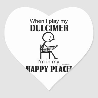 Dulcimer Happy Place Heart Sticker