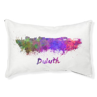 Duluth skyline in watercolor pet bed