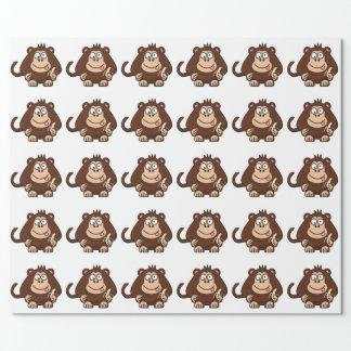 Dumb Monkey with Banana Cartoon Wrapping Paper