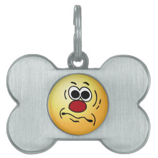 Dumb Smiley Face Grumpey Pet ID Tags