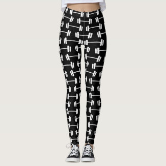 Dumbbell pattern print black athleisure leggings