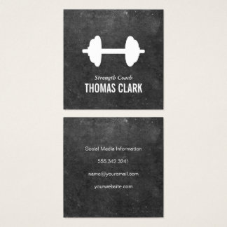 Dumbbell | Personal Trainer (slate) Square Business Card