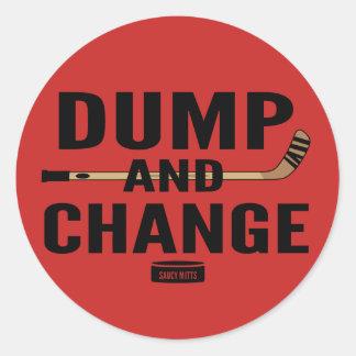 Dump and Change Hockey Red Round Sticker