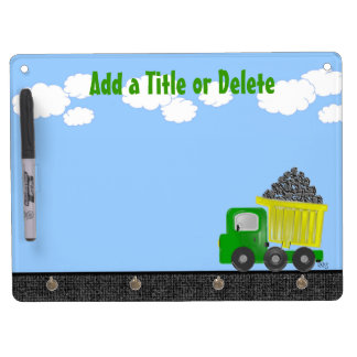 Dump Truck 3D (yellow) Dry Erase Board With Keychain Holder