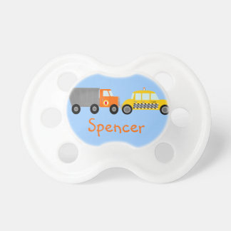 Dump Truck and Taxi Cab Cars Personalized Pacifiers