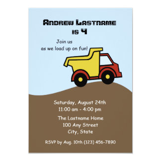 "Dump Truck Birthday 5"" X 7"" Invitation Card"