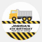 Dump Truck Birthday Party Favour Sticker
