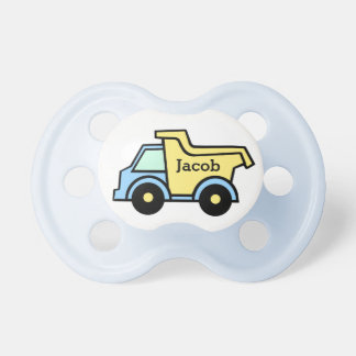 Dump Truck Blue and Yellow Baby Pacifier