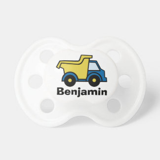 Dump Truck Blue with Name Pacifiers