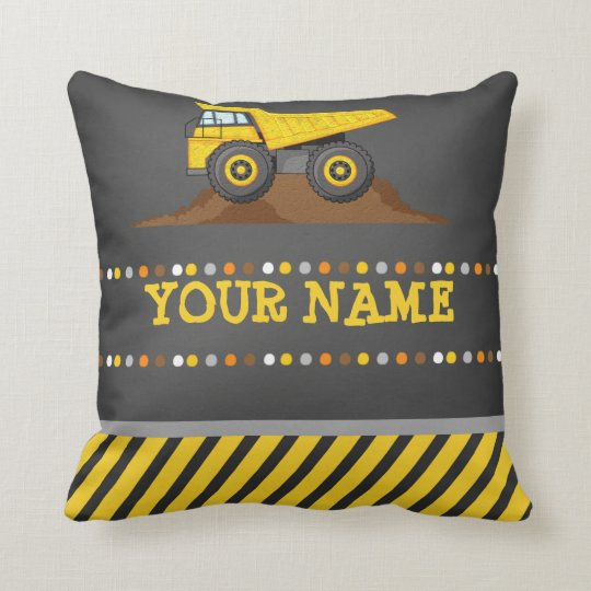 Dump Truck Boys Throw Pillow Personalized name