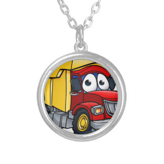 Dump Truck Cartoon Character Silver Plated Necklace