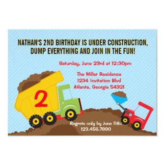 "Dump Truck Construction Boy Birthday Party 5"" X 7"" Invitation Card"