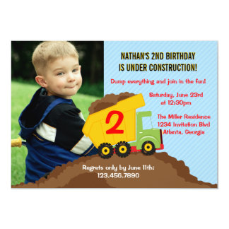 "Dump Truck Construction Boy Birthday Party Photo 5"" X 7"" Invitation Card"