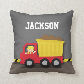 Dump Truck Construction Builder Boys Room Decor Pillows