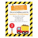 Dump Truck Construction Theme kids Birthday Party Custom Invitation
