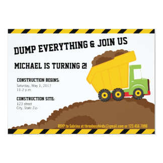 Dump Truck & Dirt Construction Zone Birthday Card