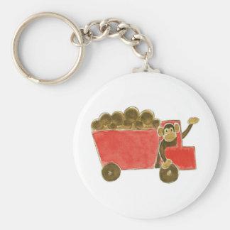 Dump Truck Monkey Basic Round Button Keychain