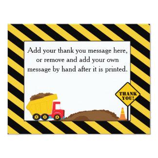 "Dump Truck Thank You Card 4.25"" X 5.5"" Invitation Card"